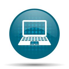 computer blue glossy web icon