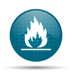 flame blue glossy web icon