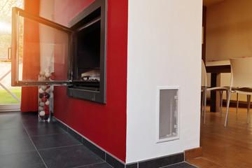 foyer ouvert avec ventilation