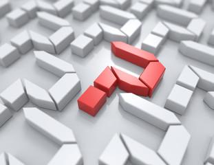 3d render illustration of question mark blocks.