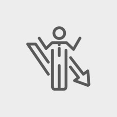 Man with arrow down thin line icon