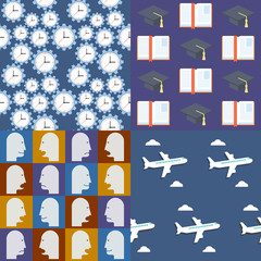 Seamless patterns. Set 5. Colorful objects.