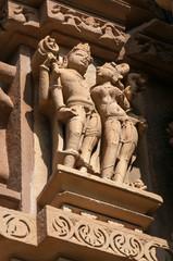 Stone carved erotic sculptures on Chitragupta temple. Khajuraho