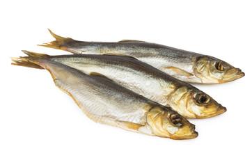 Three smoked herring on white