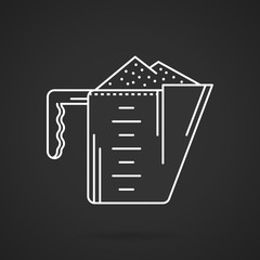 Measure cup white line vector icon