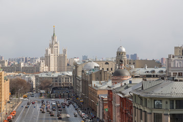 Panoramic view of the building from the roof of Moscow in cloudy