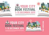 book Festival poster concept, vector Illustration