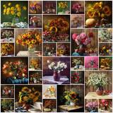 Натюрморт, коллаж, цветы, букет. Фон. - 81830024