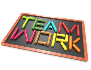 teamwork 3d word from colorful chalk