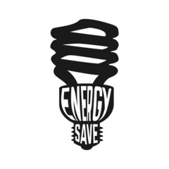 Black silhouette of lamp with text inside enegry saving concept