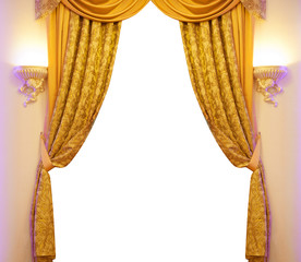 Gold curtain isolated on white background