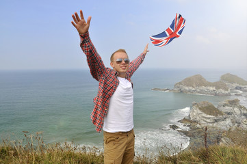 Young man traveling in UK over the ocean