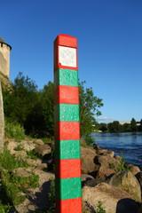 boundary pillar on the border of Russia