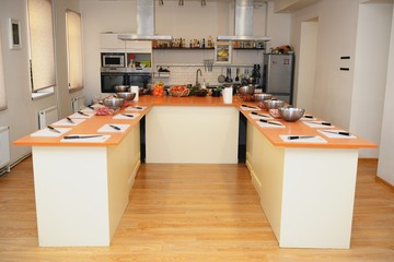 Interior to a big kitchen where everything is ready to cooking