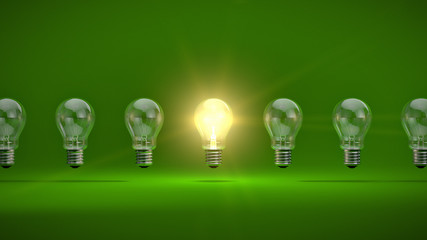 Glühbrinen Reihe grün