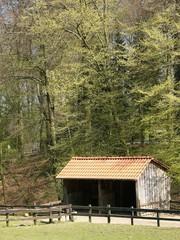 Unterstand für Esel im Heimat-Tierpark Olderdissen in Bielefeld