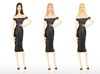 Fashion Illustration - Girls wearong black dress