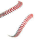 High key image of a baseball and stitches