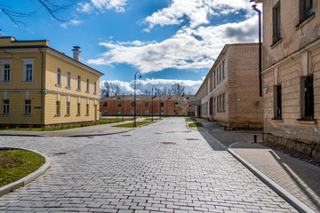 Street with old buildings in Dauvavpils