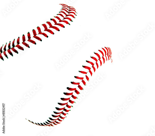 High key image of a baseball and stitches - 81832417