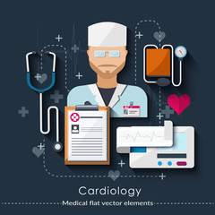 Сardiology set in flat style.  medical concept.