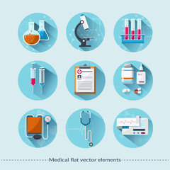 Medical flat icons with long shadow.  medical concept.