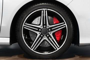New car tyre closeup photo