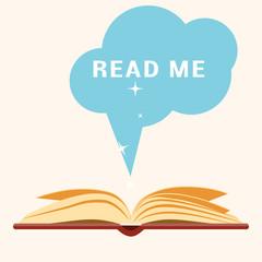 Open book. Vector flat illustration