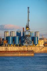 Industrial dock at golden hour