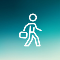 Man walking with briefcase thin line icon