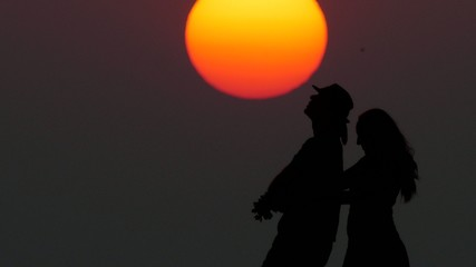 Silhouette of a dancing couple