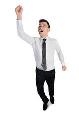 Business man winner scream