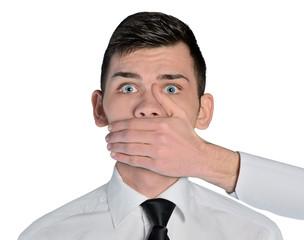 Business man fear face