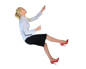 Business woman climb  something
