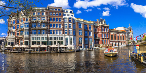 Canvas Amsterdam canals of Amsterdam.Panoramic image