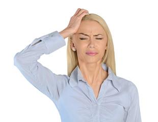 Business woman headache closeup