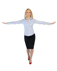 Business woman walk on imaginary rope