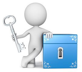 Opportunity.The dude 3D character holding Key to Closed Box.