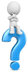 Question.The dude 3D character sitting on blue question mark.