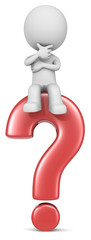Question.The dude 3D character sitting on red question mark.