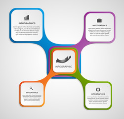 Abstract infographic design template in the square form.