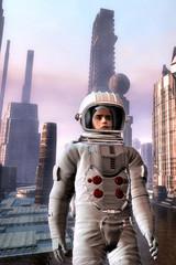 Explorer astronaut in alien city