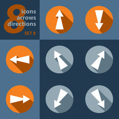set of eight icons with arrows in all eight directions