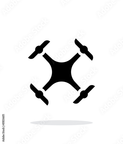 Quadcopter drone simple icon on white background.