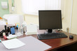 Doctor office table with office tools, monitor, mouse - 81837039