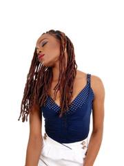 African American lady tilting head.