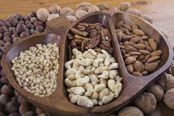 bowl with different nuts on the table