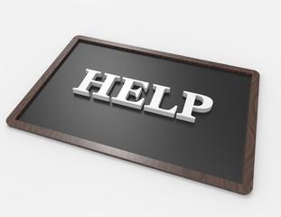 Help! 3d word concept on blackboard