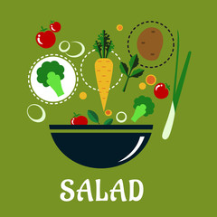 Cooking salad design with vegetables and condiments