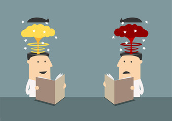 Businessmen with brains explosions in heads